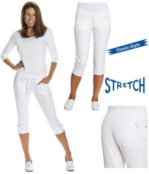 Pantacourt femme, Blanc, Taille élastiquée à côtes, 5 poches, Bi-stretch