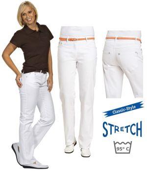 Pantalon Jean Femme Blanc, Tissu extensible robuste, Bouton et rivets assortis
