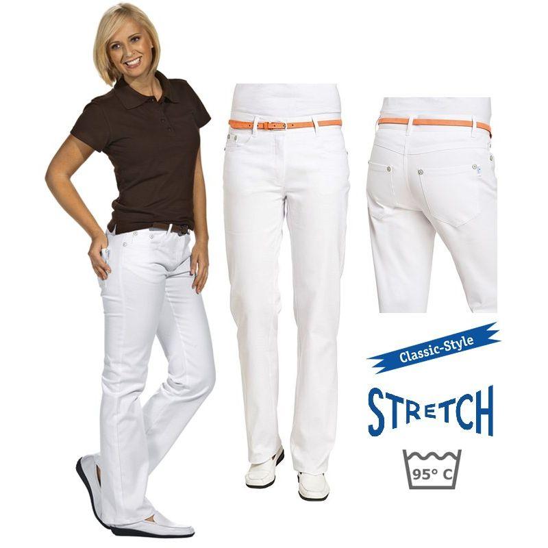 Pantalon Jean Femme Blanc, Tissu extensible robuste, Bouton et rivets  assortis 35f417b61750