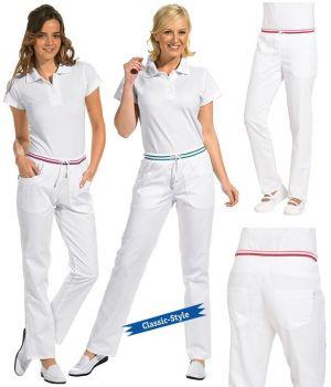 Pantalon Blanc Femme, Ceinture en maille, poches latérales et arrière