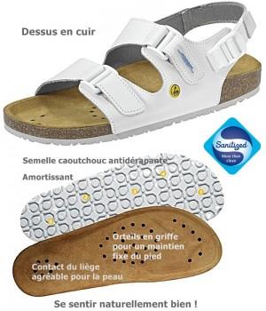 Chaussures de travail, Sandales confort, Dessus cuir blanc, semelle intérieure liège, antidérapantes