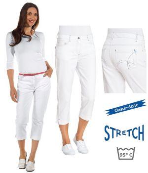 Pantacourt Blanc Femme, Pantalon 3/4, 5 poches, Rivets, Surpiqûres