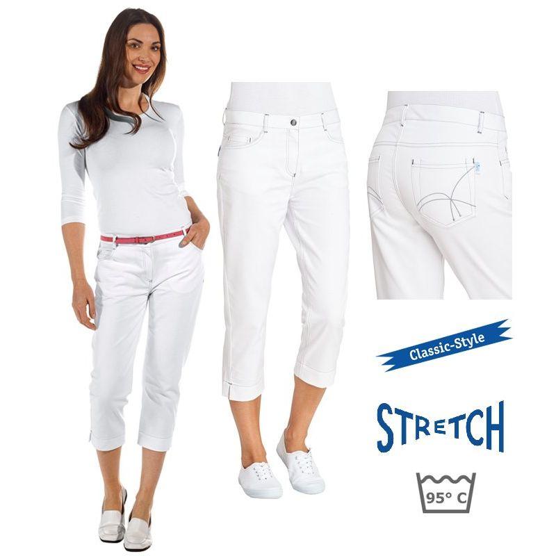 pantacourt blanc femme pantalon 3 4 5 poches rivets surpiq res. Black Bedroom Furniture Sets. Home Design Ideas