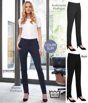 Pantalon Femme, Slim fit, 2 poches avant, Stretch, Tissu résistant