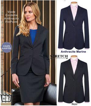 Veste Femme, Coupe ajustée, 2 boutons, Tissu résistant, Stretch