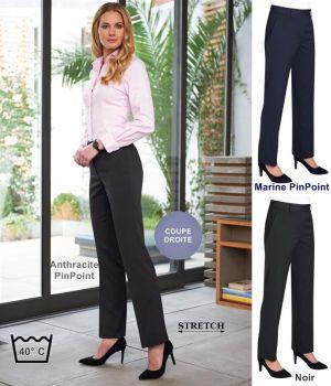 Pantalon Femme, Coupe droite, Tissu très résistant, Stretch