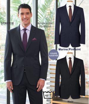 Veste Homme, Coupe Ajustée, 2 boutons, Tissu Résistant, Stretch
