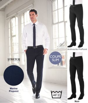 Pantalon Homme, Coupe Slim, Sans pinces, Tissu résistant, Stretch