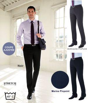 Pantalon Homme, Coupe Ajustée, Sans pinces, Tissu résistant, Stretch