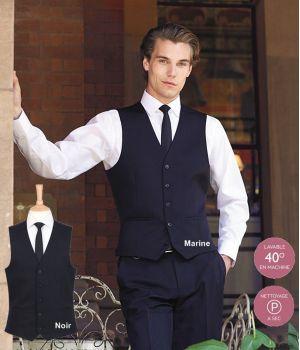 Gilet Barman de serveur, 5 boutons devant, 2 poches, 100% polyester