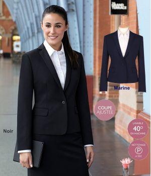 Veste Femme, Coupe ajustée, 1 bouton, Revers étroit, 100% polyester