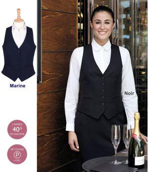 Gilet barman Femme, 5 boutons sur le devant, 100% polyester