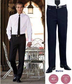 Pantalon homme, Coupe ajustée, Sans pinces, 100% polyester