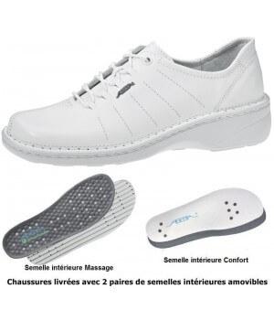 Chaussures Reflexor® femme, semelle massante, cousu main, Cuir, blanc