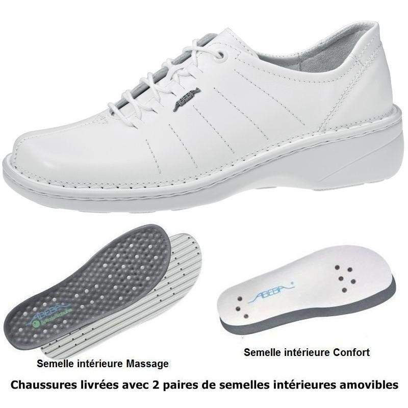 chaussures femme semelle massante cousu main cuir blanc. Black Bedroom Furniture Sets. Home Design Ideas
