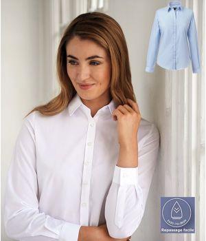 Chemisier Femme, Manches longues, Coupe classique, Polyester Coton