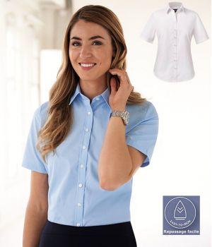 Chemisier Femme, Manches courtes, Coupe classique, Polyester Coton