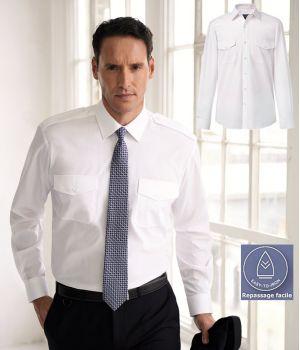 Chemise Homme Blanche Manches longues, Épaulettes, 2 poches avant