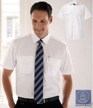 Chemise Homme Blanche Manches courtes, Épaulettes, 2 poches avant
