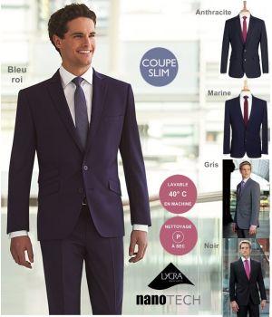 Veste de costume homme, Coupe courte Slim, 2 boutons, Revers avec surpiqure