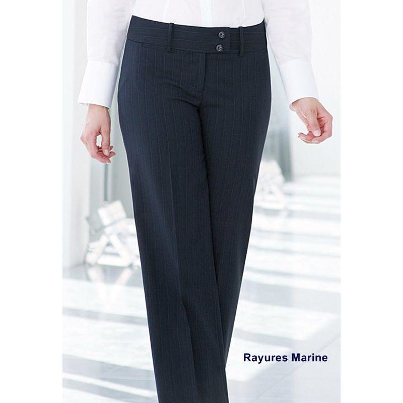 Pantalon femme, Taille basse Coupe droite évasée en bas Poche clé