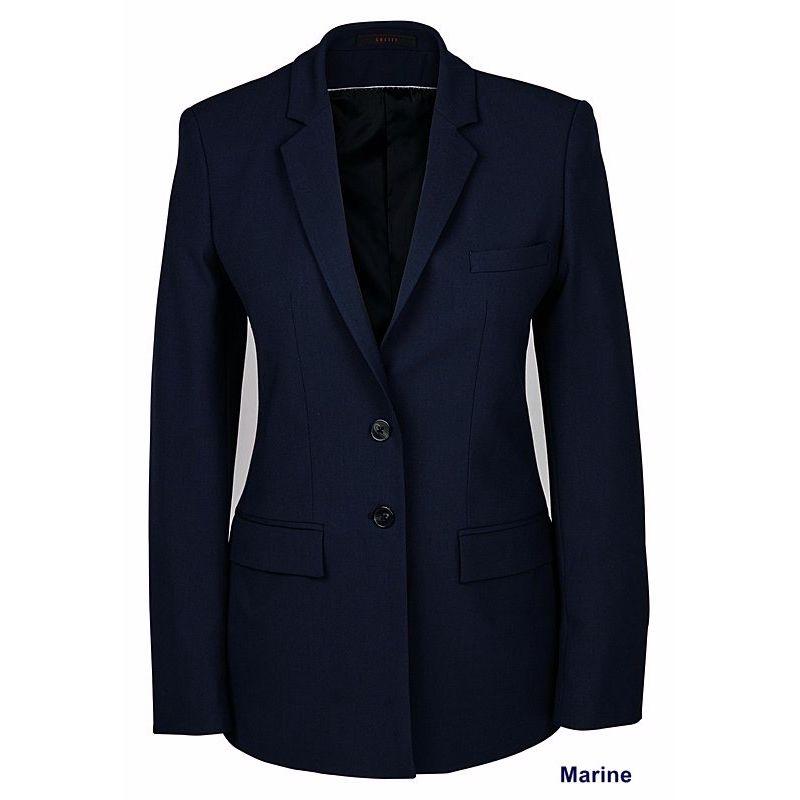 veste femme premium blazer long coupe droite ajust e bi. Black Bedroom Furniture Sets. Home Design Ideas