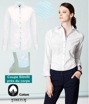 Chemisier Femme, Slimfit, Manches longues, Coton, Blanc et Bleu clair