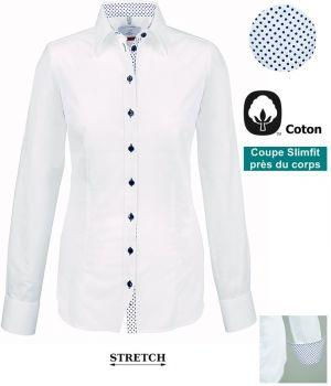 Chemisier Femme, Slimfit, Manches longues, Coton, Blanc contrasté Bleu