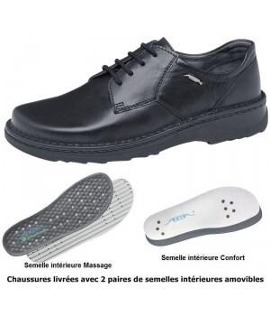 Chaussures Reflexor® homme, semelle massante, cousu main, Cuir, noir, à lacets
