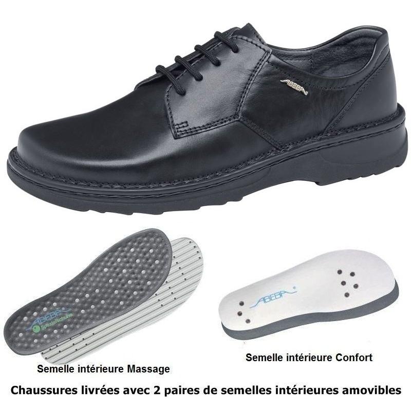 chaussures homme semelle massante cousu main cuir noir lacets. Black Bedroom Furniture Sets. Home Design Ideas