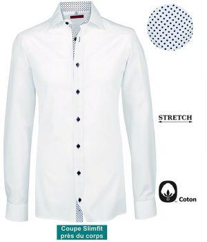 Chemise Homme, Manches longues, Coupe Slimfit, Blanc Contrasté Bleu clair