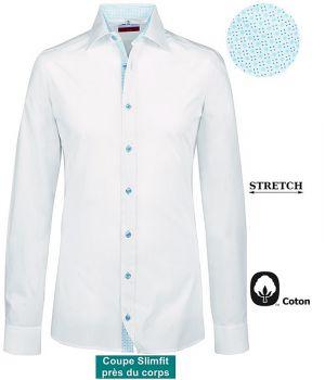 Chemise Homme, Manches longues, Coupe Slimfit, Blanc Contrasté Bleu
