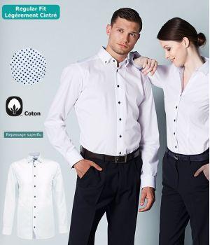 Chemise Homme, Manches longues, Coupe Regular Fit, Col boutonné