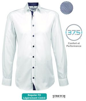 Chemise Homme Manches Longues, Blanc contrasté Bleu, Stretch