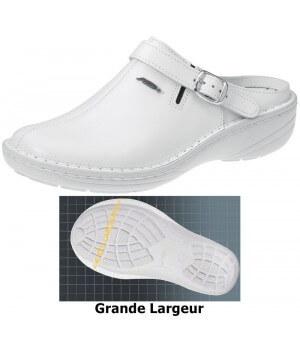 Chaussures Reflexor® femme, bride arrière réglable et pivotante, massage, grande largeur, confort, cousu main, Cuir, blanc