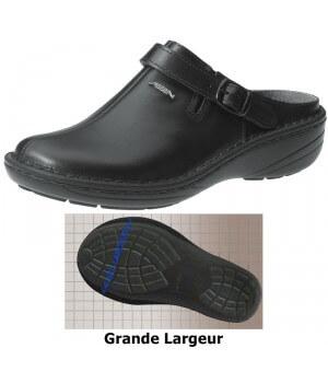 Chaussures Reflexor® femme, bride arrière réglable et pivotante, massage, grande largeur, confort, cousu main, Cuir, noir