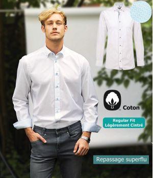 Chemise Homme, Blanc contrasté Bleu Clair, Regular Fit, Col boutonné