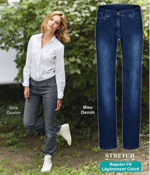Jean Femme, 5 poches, Regular Fit, Casual Chic et décontracté, Stretch