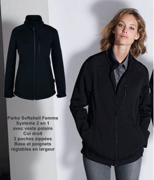 Parka Softshell Femme, Noire, Système 2 en 1 avec veste polaire