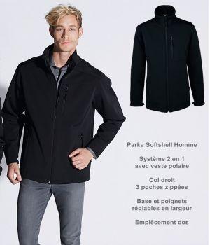Parka Softshell Homme, Noire, Système 2 en 1 avec veste polaire