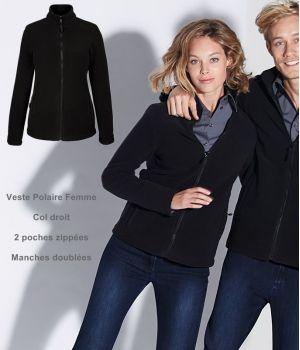 Veste Polaire Femme, Noire, Col droit, 2 poches zippées