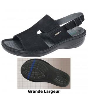 Chaussures Reflexor® femme, massage, grande largeur, confort, cousu main, Cuir, noir