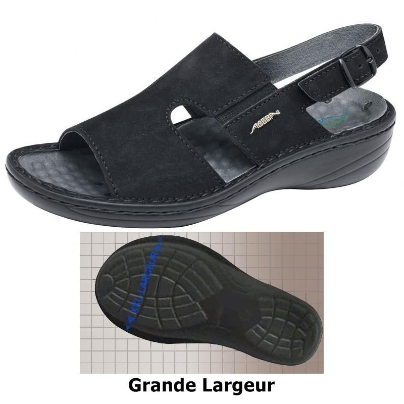 chaussures femme massage grande largeur confort cuir noir. Black Bedroom Furniture Sets. Home Design Ideas