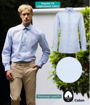 Chemise Homme, Bleu clair à motifs, Col à pointes boutonnés, Regular Fit