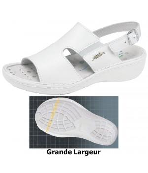 Chaussures Reflexor® femme, massage, grande largeur, confort, cousu main, Cuir, blanc