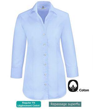 Chemisier Bleu clair Manches 3/4, 100% Coton, Repassage superflu