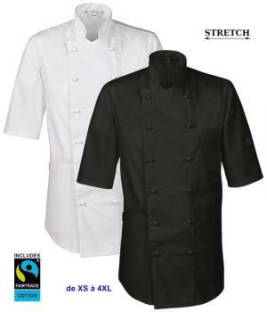 Veste de Cuisine, Manches Courtes, Orifices de ventilation, Stretch Confort