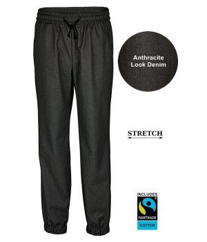 Pantalon Baggy Homme, Anthracite Look Denim, Ceinture élastique et cordon