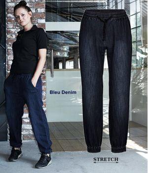 Pantalon Baggy Femme, Bleu Denim, Ceinture élastique, Regular fit
