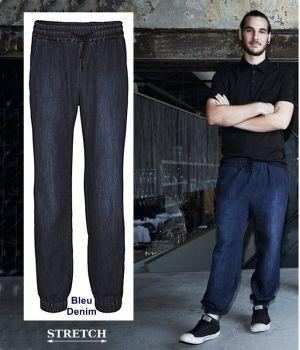 Pantalon Baggy Homme, Bleu Denim, Ceinture élastique avec Cordon